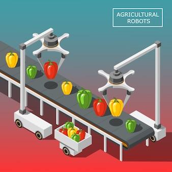 Изометрическая композиция сельскохозяйственных роботов