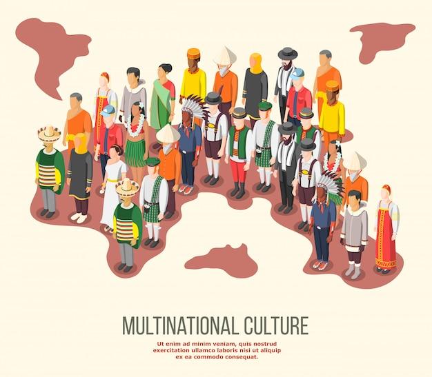 Изометрическая композиция многонациональной культуры