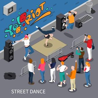 Уличный танец изометрическая композиция