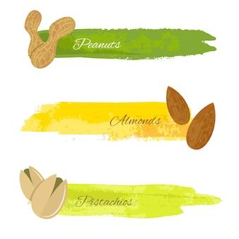 ピスタチオアーモンドナッツの白いベクトルのイラストで、グランジのカラフルなバナーのセット