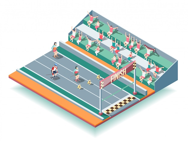 Соревнования по спортивным роликам изометрический фон