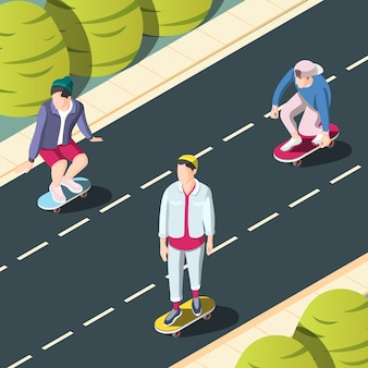スケートボードの都市背景