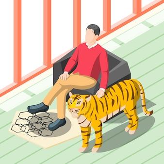 Богатый человек поглаживая тигра