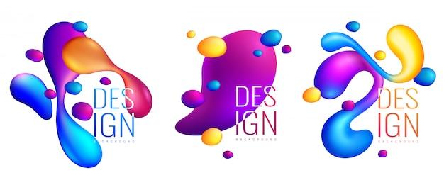 Голографические жидкости абстрактные дизайнерские композиции