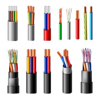 電気ケーブルの現実的なセット