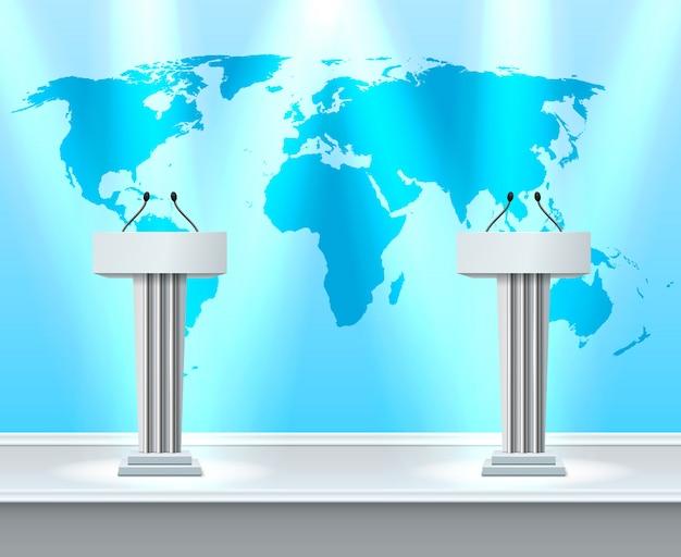 Трибуна реалистичная композиция для дебатов