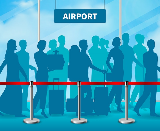 Временное ограждение барьер люди аэропорт состав