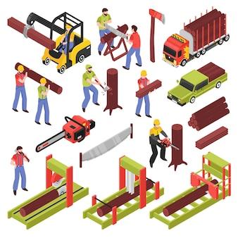 Дровосек изометрические иконки набор рабочих, пиление деревьев и бревен с ручной пилой и пильным оборудованием
