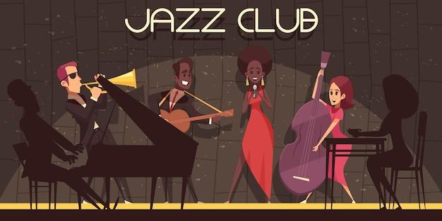 Джазовая горизонтальная композиция с плоскими мультяшными персонажами-музыкантами с теневыми силуэтами на сцене