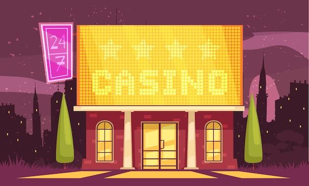 夜の街並みの雪と明るい兆候とギャンブルの家の建物のカジノ屋外組成