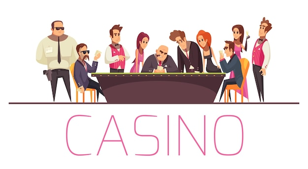 Композиция казино с текстовыми и плоскими персонажами мультяшного стиля, играющими людьми безопасности и банкира