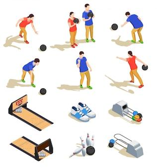 Боулинг набор изометрических иконок со спортивным инвентарем и командами игроков во время игры изолированы