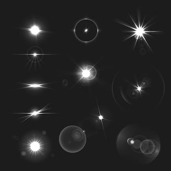 Объектив черный белые лучи реалистичный набор изолированных