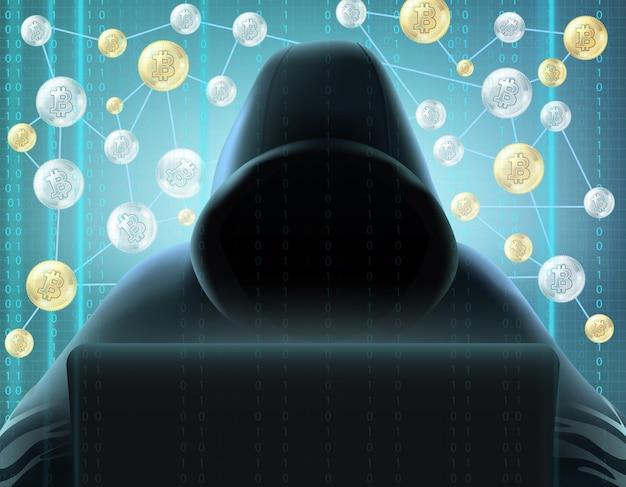 Криптовалютный блокчейн, реалистичный майнер в черном капюшоне за компьютером на фоне цифрового экрана и сети биткойнов