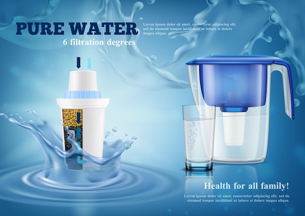 交換用カートリッジと完全なガラスの現実的な広告構成の青い水しぶきを備えた家庭用浄水器