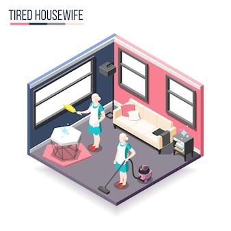 Замученная домохозяйка изометрической композицией с двумя женщинами в домашнем интерьере занята уборкой квартиры