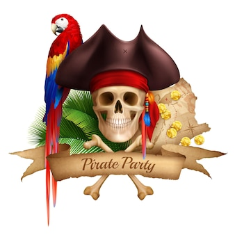 古い地図のカラフルなオウムと帽子が現実的な頭蓋骨に着用の海賊党現実的な構成