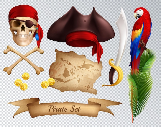 Пиратские реалистичные иконки набор сабля пиратская шляпа красная бандана, привязанная к черепу попугай на пальмовой ветке, изолированных на прозрачной