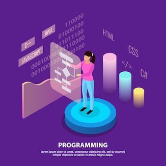 インフォグラフィック画像の人々のキャラクターとカラフルな画像の編集可能なテキストとフリーランスプログラミング等尺性組成物