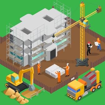 Строительная изометрическая композиция с видом на высотное здание с рабочими машинами и машинами