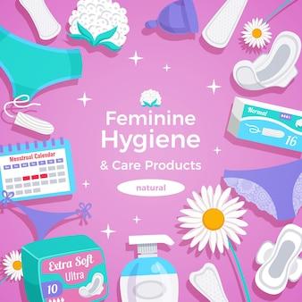 Женские гигиенические натуральные продукты плоской квадратной композиции с прокладками, прокладками, прокладками, тампонами, менструальной чашкой