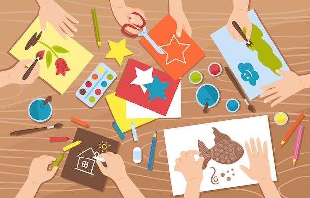 イラストを描く子供たちと手作りのフラットなデザイン