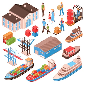 Изометрический набор морского порта с городскими жителями, постройкой пирса, грузовыми судами, портовыми сооружениями