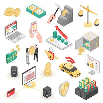 Набор изометрических иконок с криптовалютой, сейф с деньгами