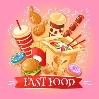 Фаст-фуд гамбургеры лапша куриные чипсы десерты напитки иллюстрация
