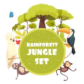 Иллюстрации шаржа джунглей с деревьями и растениями тропического леса и экзотических животных