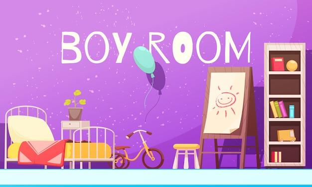 Комната мальчика в иллюстрации фиолетового цвета