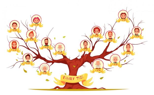 高齢者から若い世代のイラストまでの家族の系統樹セット