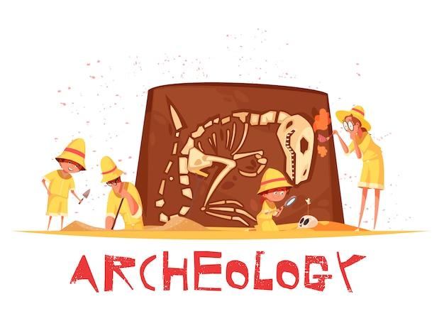 恐竜の骨格図の考古学的発掘中の作業ツールと探検家のグループ