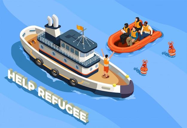 無国籍難民の亡命イラスト