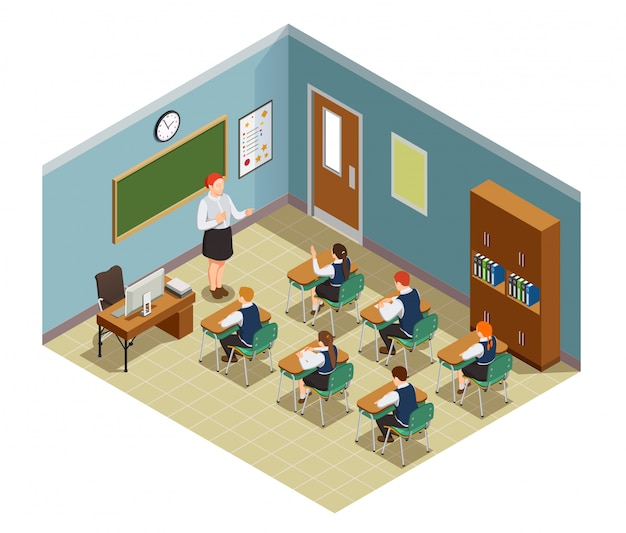 Изометрическая композиция для школьников с интерьером классной комнаты и персонажами учительницы и ученицы