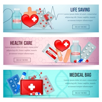 Аптечка первой помощи горизонтальные реалистичные баннеры сайта здравоохранения с неотложной медицинской помощи