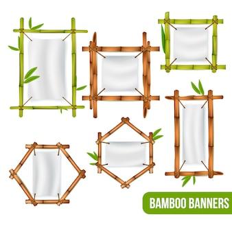 緑と乾燥した竹の装飾フレーム