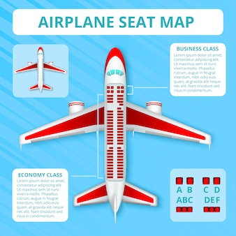 乗客の飛行機の座席マップ現実的なトップビュー