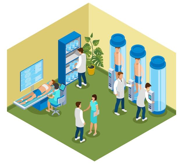Медицина будущей изометрической композиции с видом на больничную палату