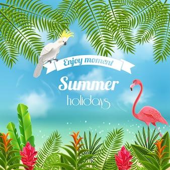 Тропический рай фон с размытым изображением морских берегов с попугаем и листьями фламинго