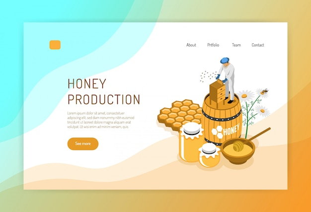 Производство меда изометрической концепции веб-страницы с пчеловодом во время работы над цветом