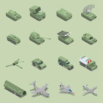 Военная техника изометрии с танковой пушкой ракетная установка реактивный истребитель самоходная гаубица изолированные значки