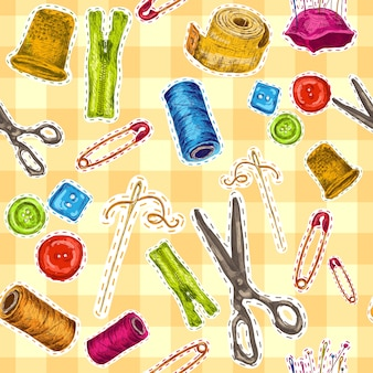 裁縫と縫製アクセサリーを縫うシームレスなパターンのベクトル図をスケッチ