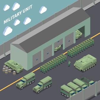 Изометрическая композиция воинской части с армейскими грузовиками, боевыми машинами пехоты и солдатами в строю