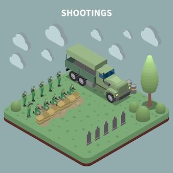 兵士の軍隊と等尺性の軍の人々は、標的射撃訓練のために軍用トラックに到着しました