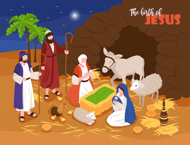 Изометрические библейские повествования рождественский вертеп концепция баннер с композицией на открытом воздухе и человеческих персонажей с овцами