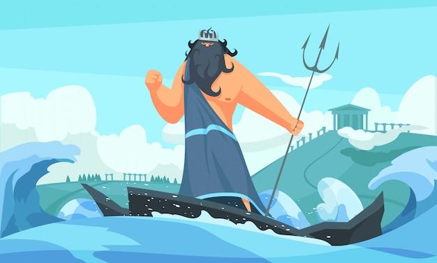 Греция древних богов плоская мультипликационная полоса с посейдоном среди волн, ударяющих море своим трезубцем
