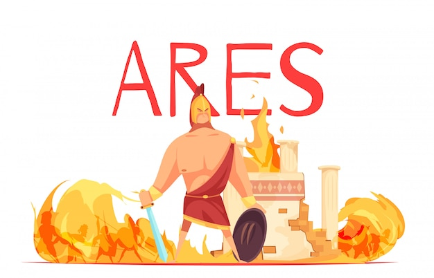 Древний греческий олимпийский бог войны ар в шлеме с мечом среди плоского мультфильма битвы