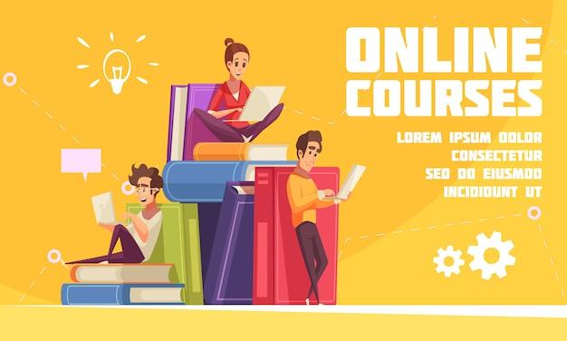 Онлайн-курсы мультипликационной рекламной веб-страницы со студентами, сидящими на куче книг с ноутбуками, ноутбуками