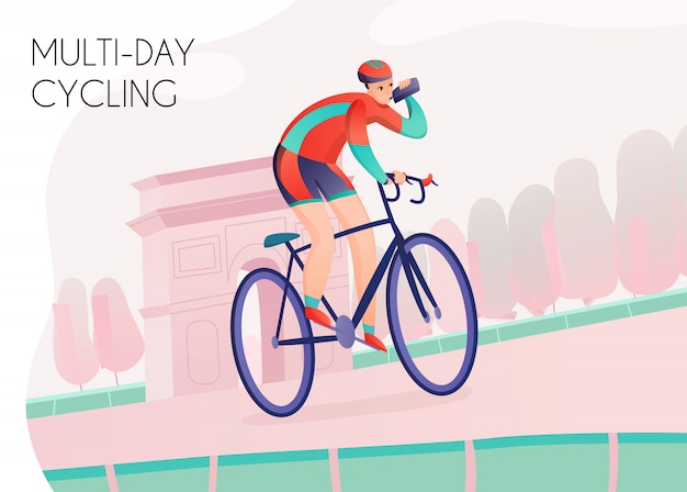 Спортсмен с бутылкой с водой в яркой спортивной одежде во время многодневной езды на велосипеде по арке